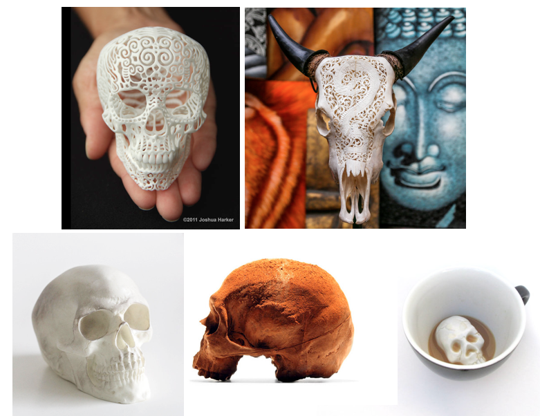 clockwise from top left:  filigree   sculpture ,  carved steer skull ,  cup ,  chocolate skull 1 +     2  .