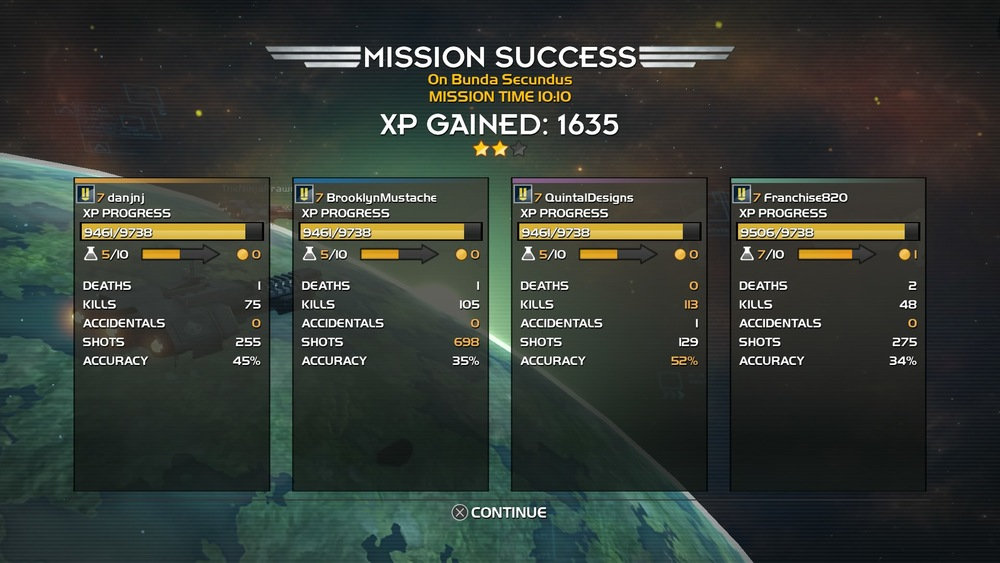 Experience being granted at the end of a mission kept my group in lock-step with each other.