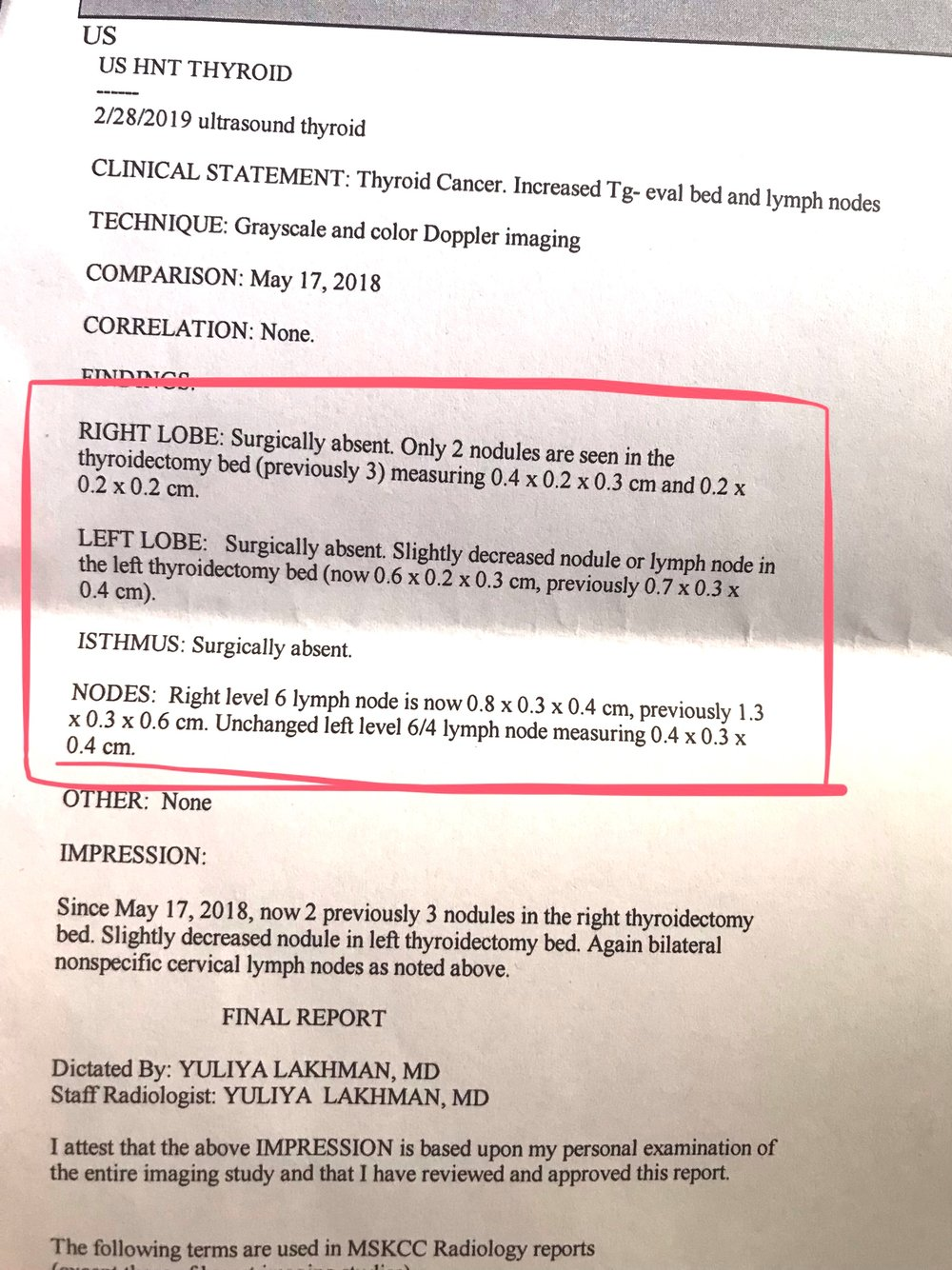 Snapshot of my Medical Report. Basically… EVERYTHING IS SHRINKING!!! WITHOUT THE USE OF TOXIC THERAPIES! WAHOOOO!!!! TAKE THAT, MODERN MEDICINE!!!!