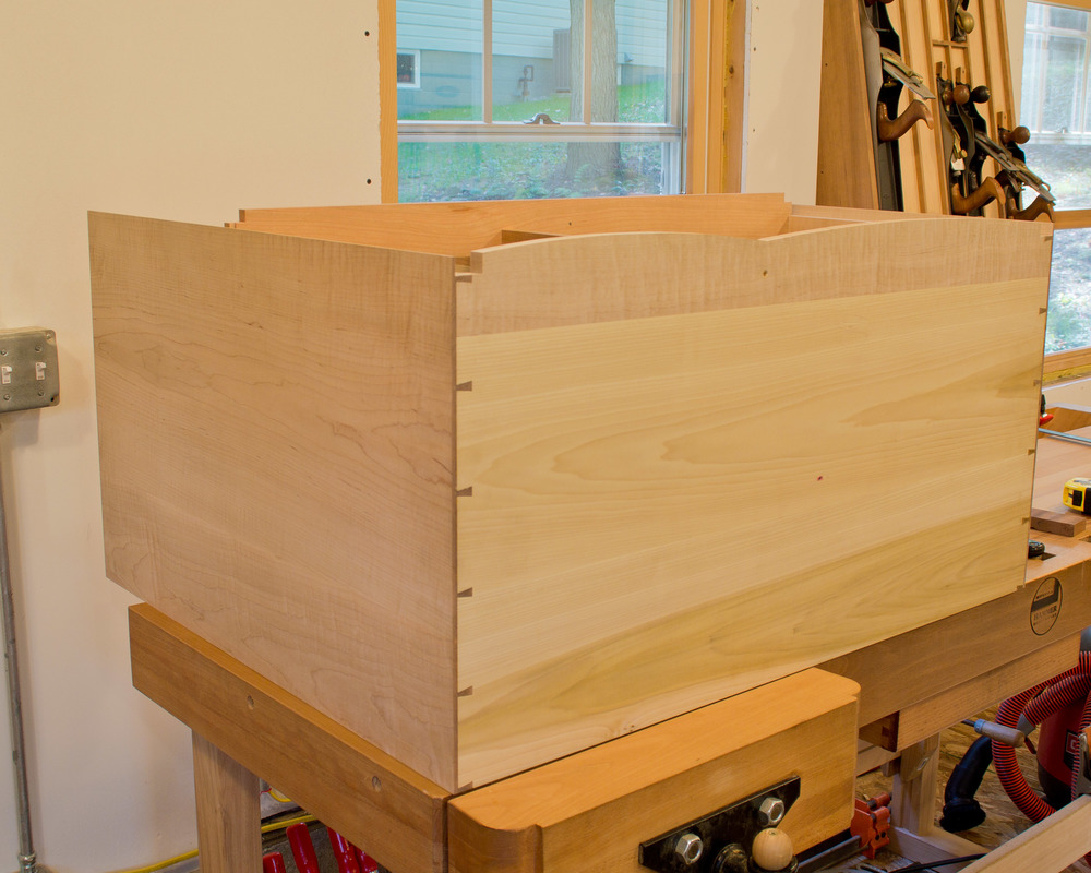 Here are those half-blind dovetails, viewed from the bottom.