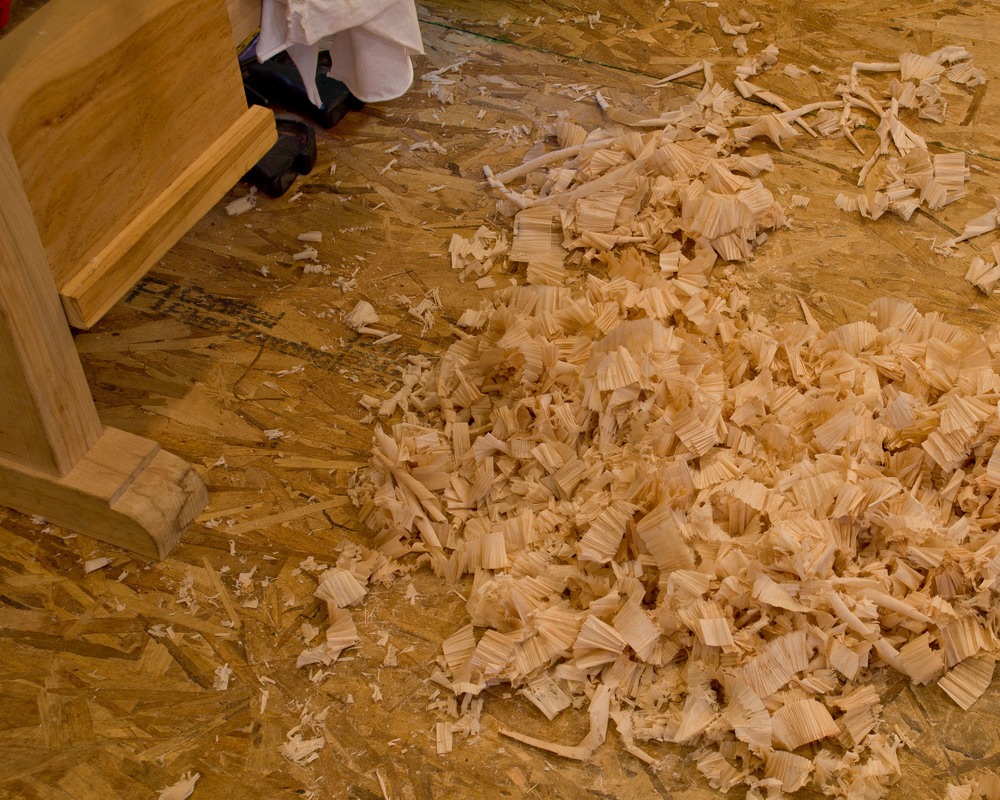 Shaping like this creates lots of hand plane shavings.  But I'd much prefer these wispy shavings to the dust and noise of trying to do this with machines.  Plus this is a whole lot safer.