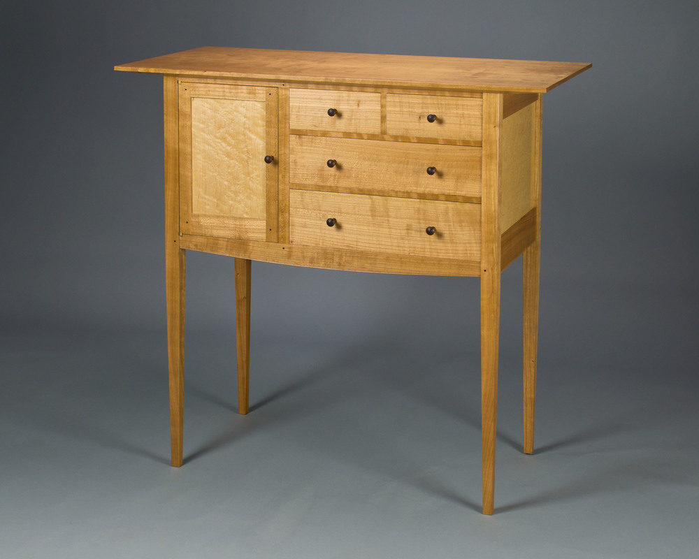 this sideboard, made of black cherry, birds eye maple and rosewood, is featured in the february 2015 issue of fine woodworking magazine