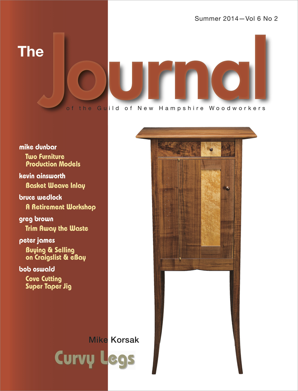 the cover of the journal, which features a woodworking article written by mike