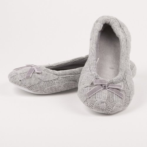 Cable Knit Ballet Slippers In Gray Shop Underwear