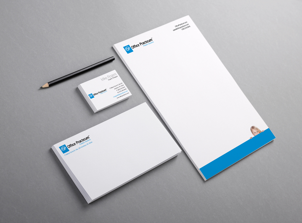 Example of Office Practicum branding on stationery.