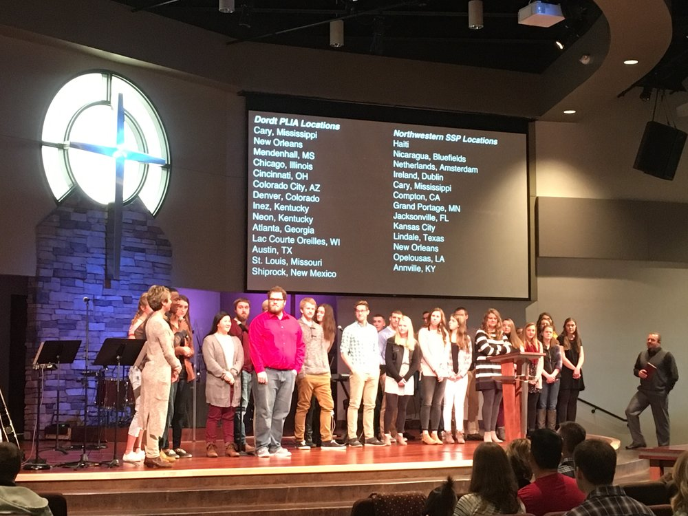 One of our three services commissioning those going on SSP and PLIA trips over spring break.