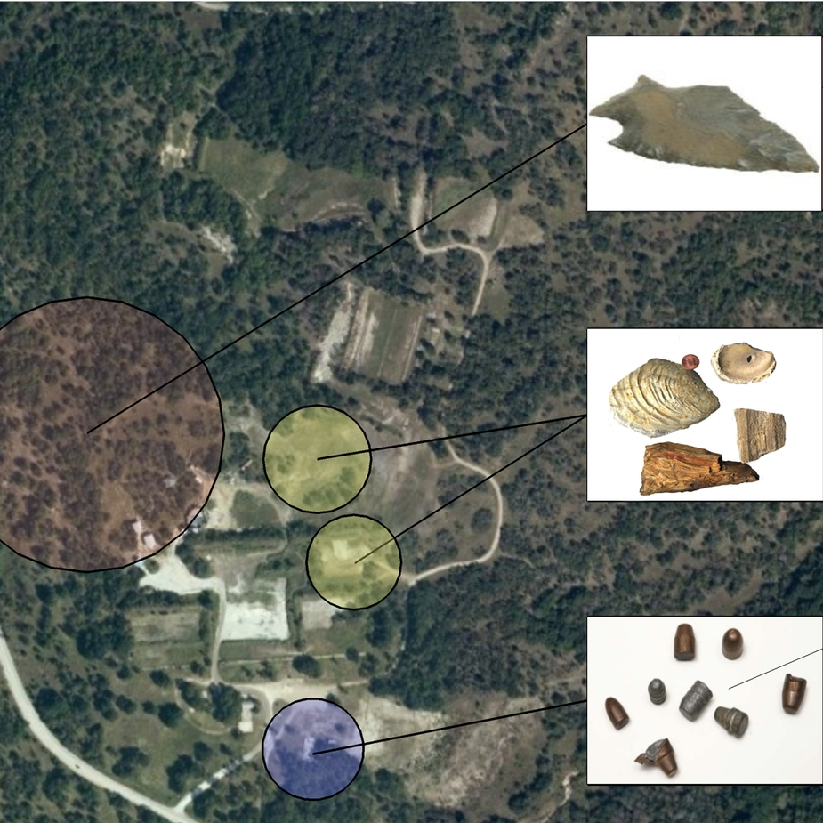 Artifacts found on the site:  arrow heads, fossils, and bullets