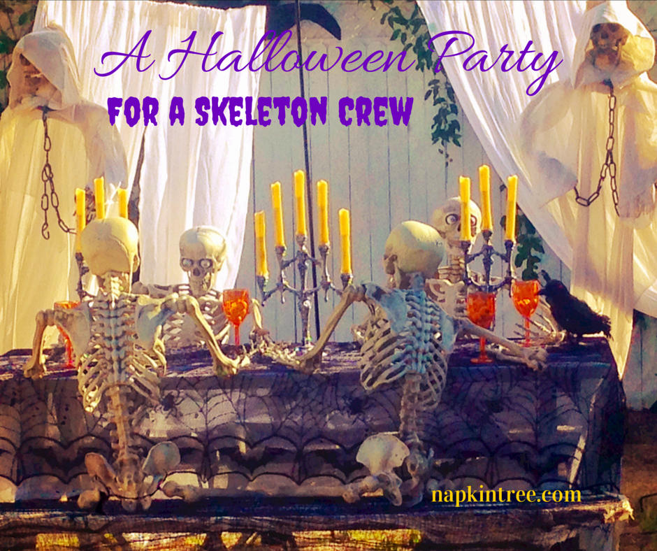 It's a gaggle of ghouls celebrating Halloween with a banquet fit for the living.
