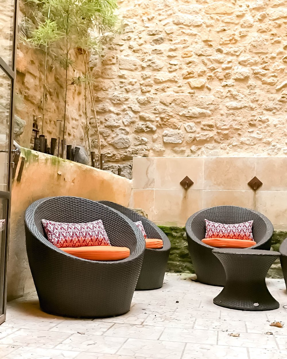 Seats in outdoor patio in Provence, France
