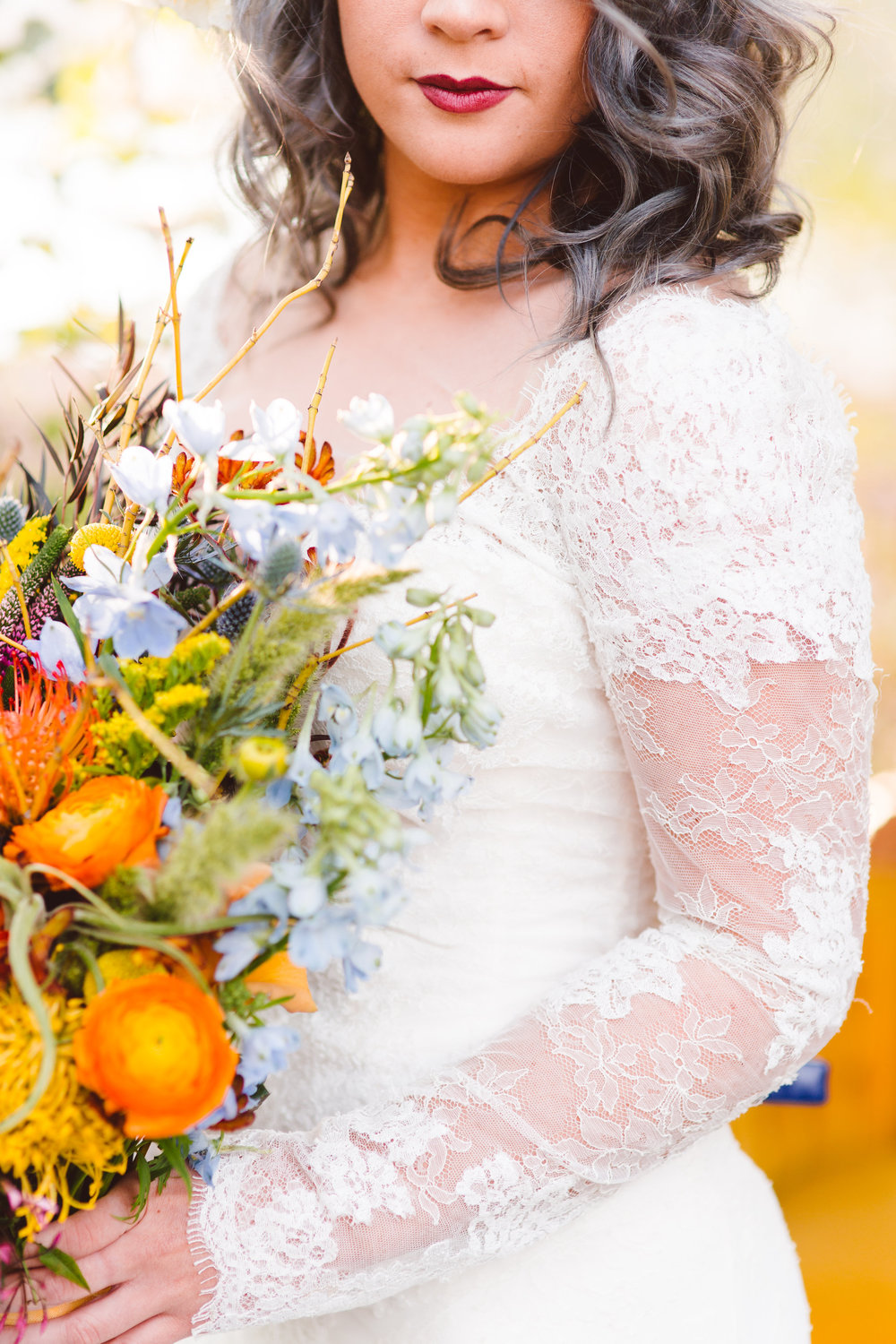 Boho Bride lace dress and bouquet