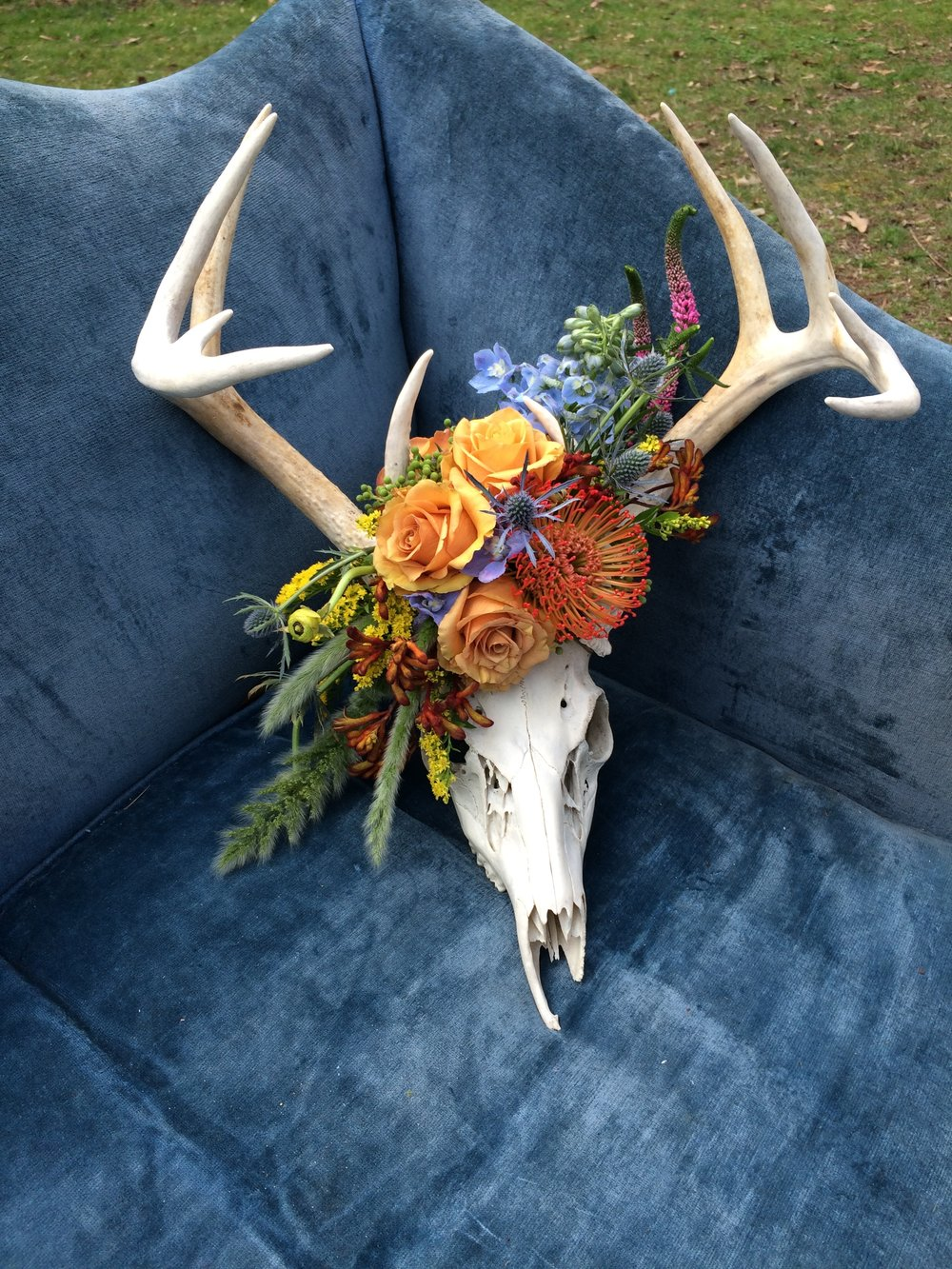 Deer Skull with Floral Accent