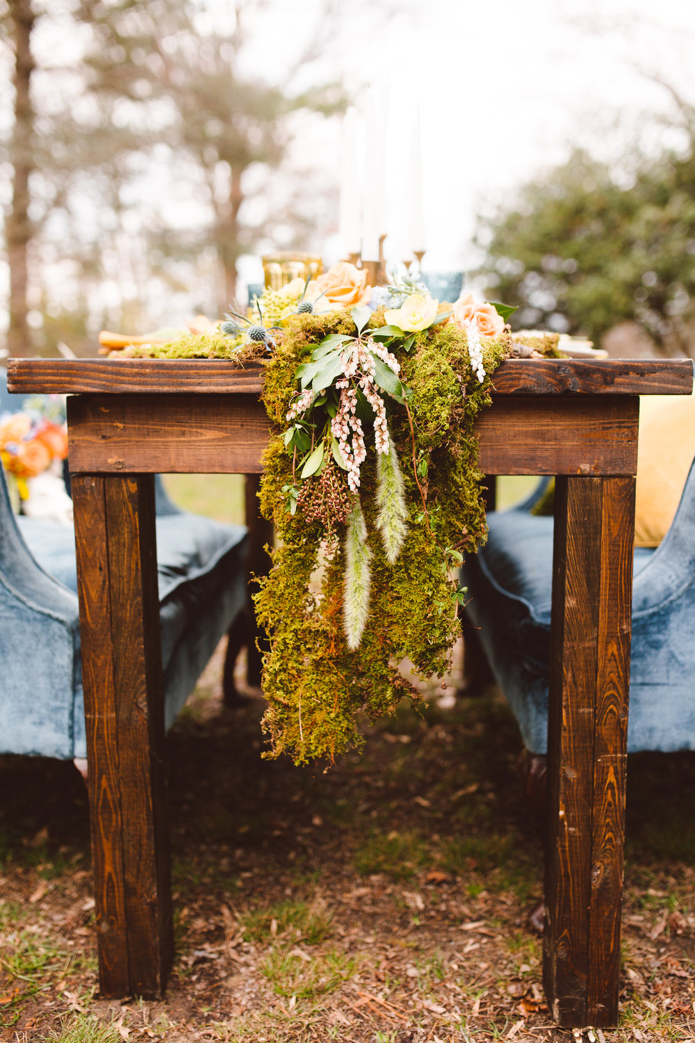 Table with Moss Runner by Lark Floral