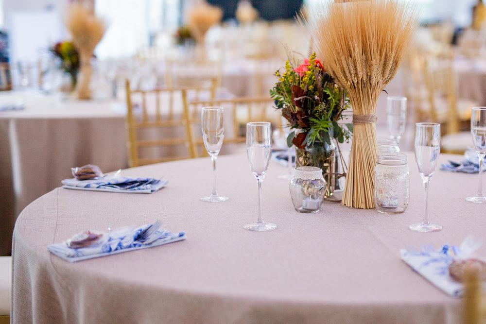 Wedding Centerpiece with wheat