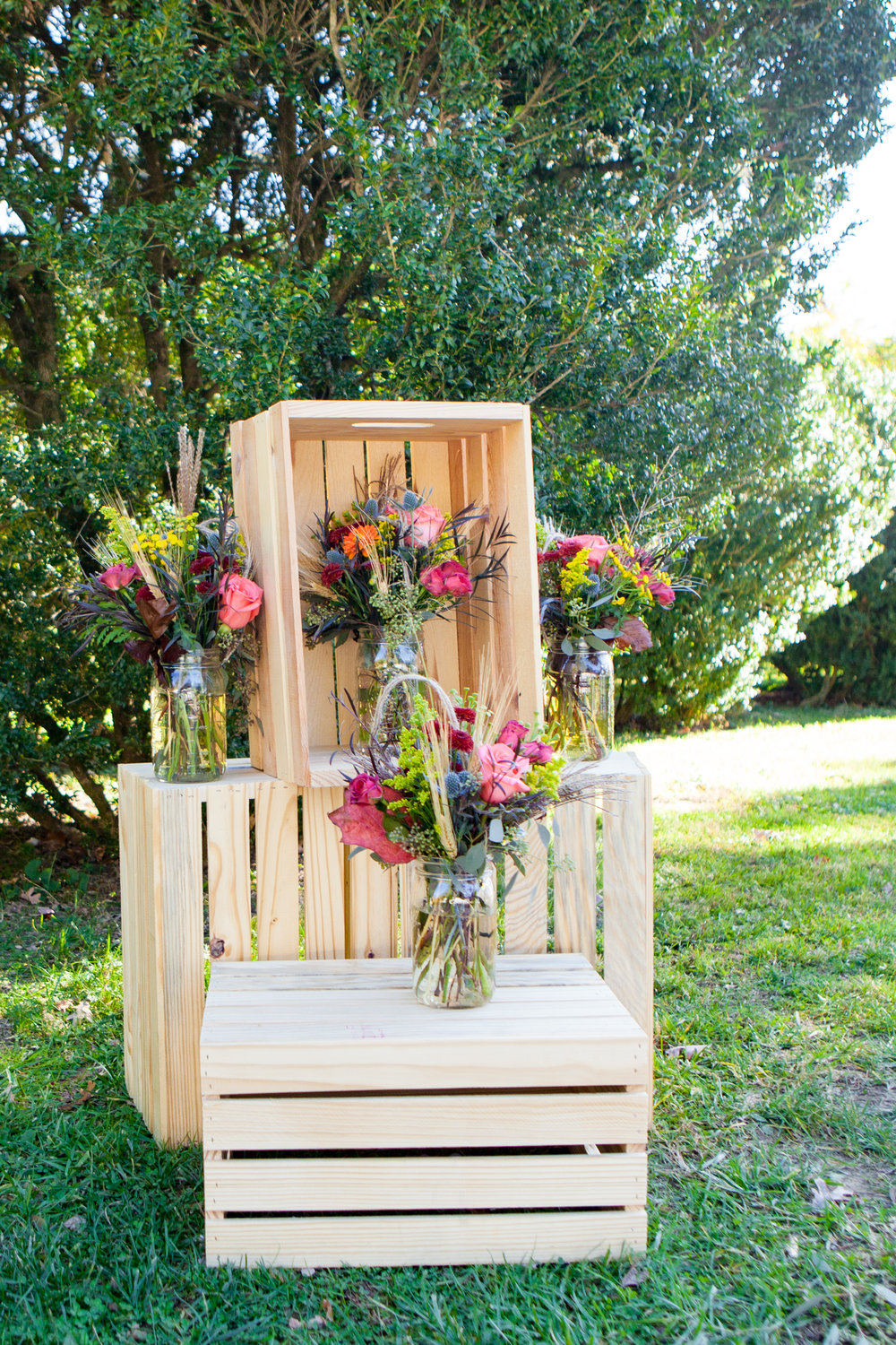 Crates used in wedding ceremony at Rust Manor