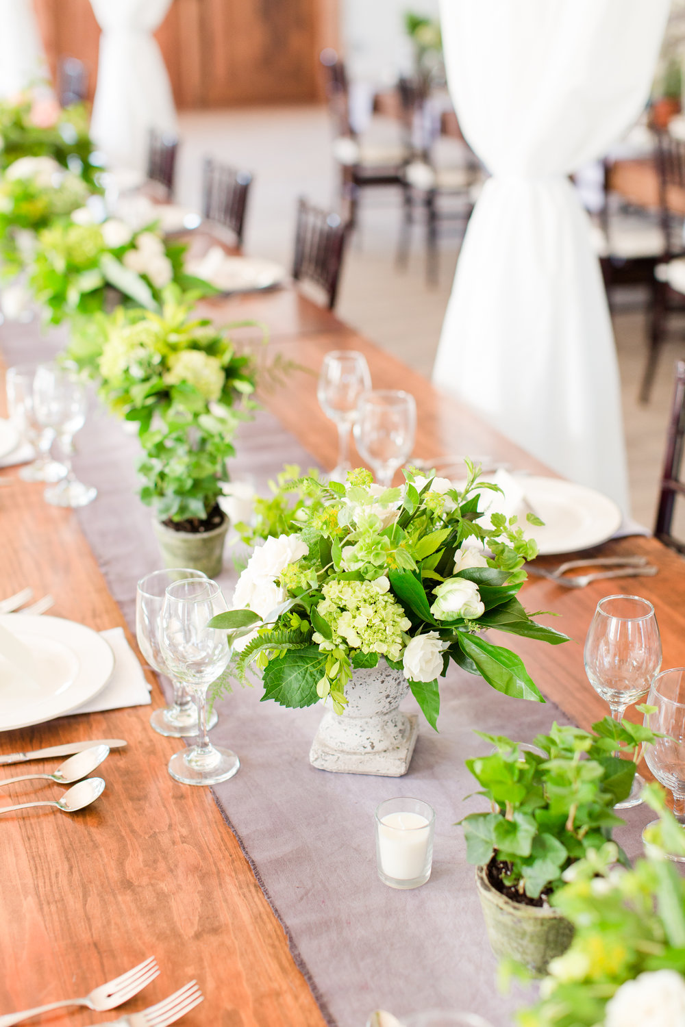 Centerpieces for green and gray wedding