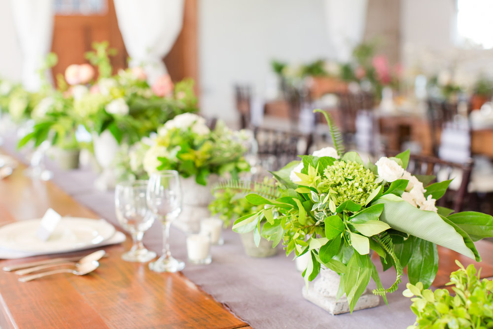All green wedding centerpieces by Lark Floral at 48 Fields