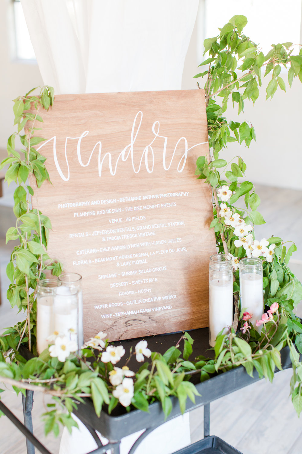 Wedding Signage with greenery by Lark Floral