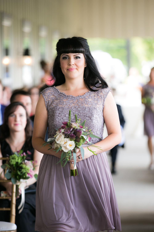 Bridesmaid in Dusty Purple Dress