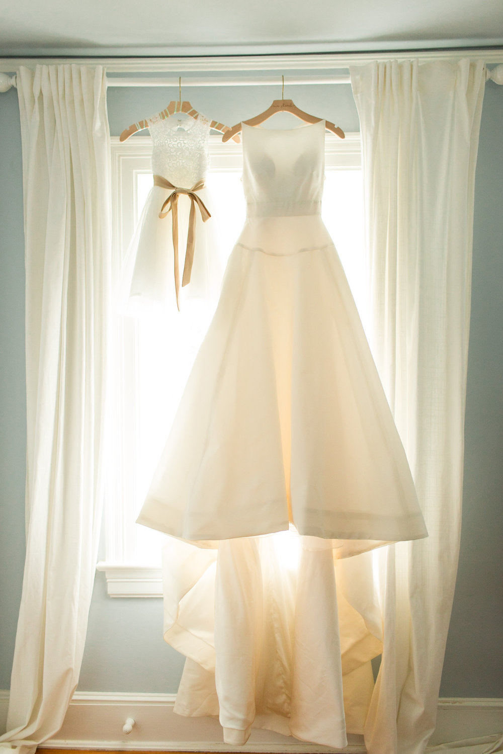 Wedding Gown by window at Tranquility Farm