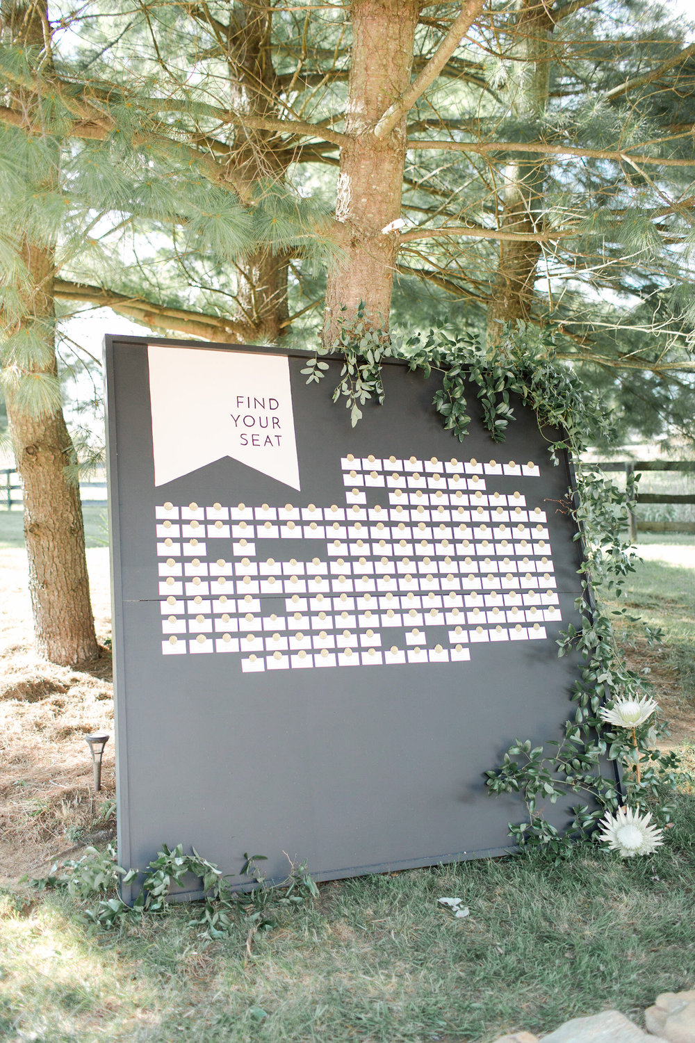 Escort Card sign at Tranquility Farm