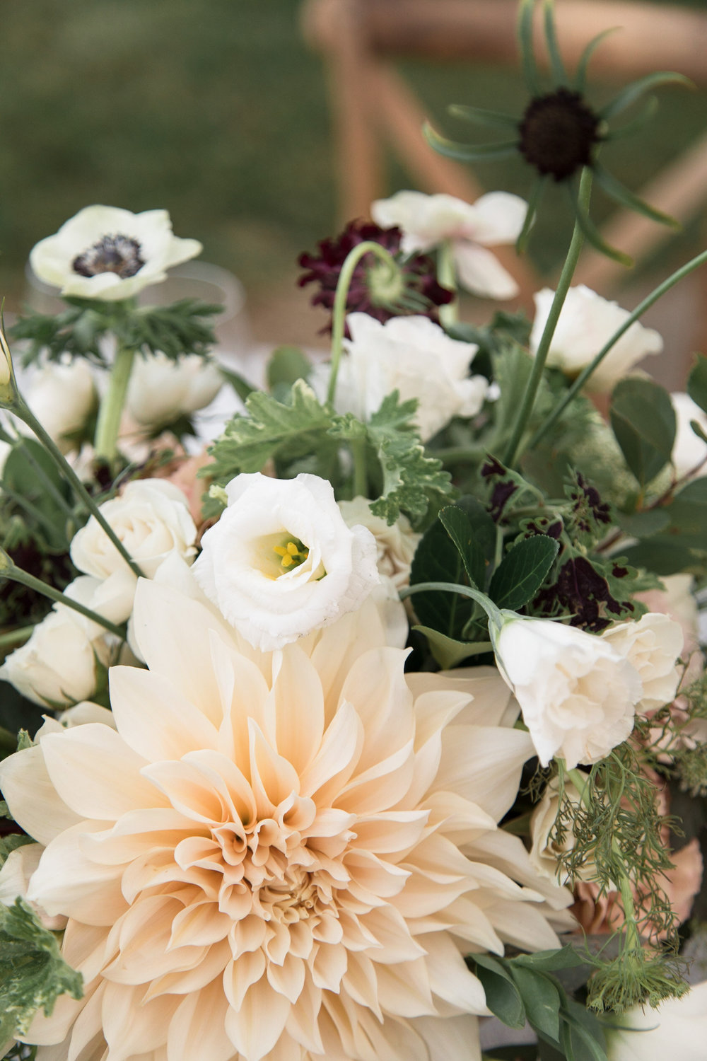 Centerpiece with Cafe au Lait dahlia by Lark Floral