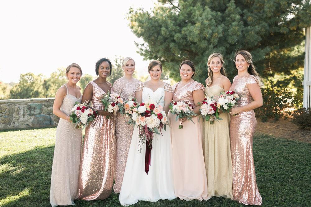 Bridesmaids at Bluemont Vineyard Wedding