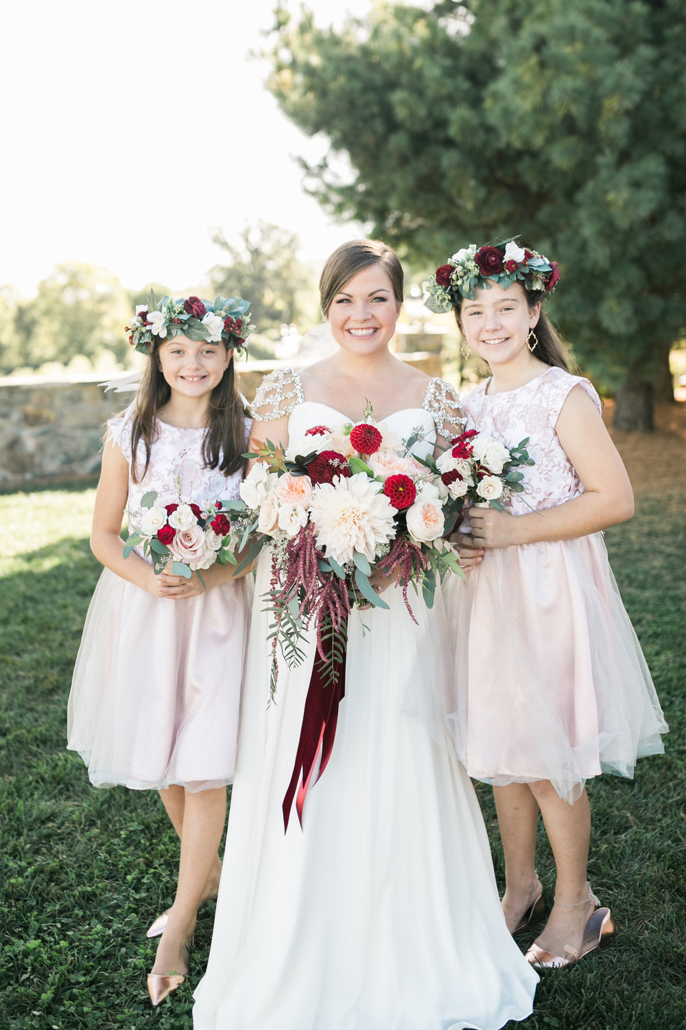 Bride with flower girls at Bluemont Vineyard Wedding