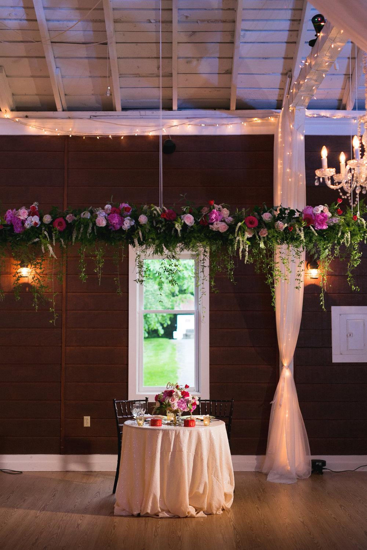 Hanging Floral chandelier by Lark Floral
