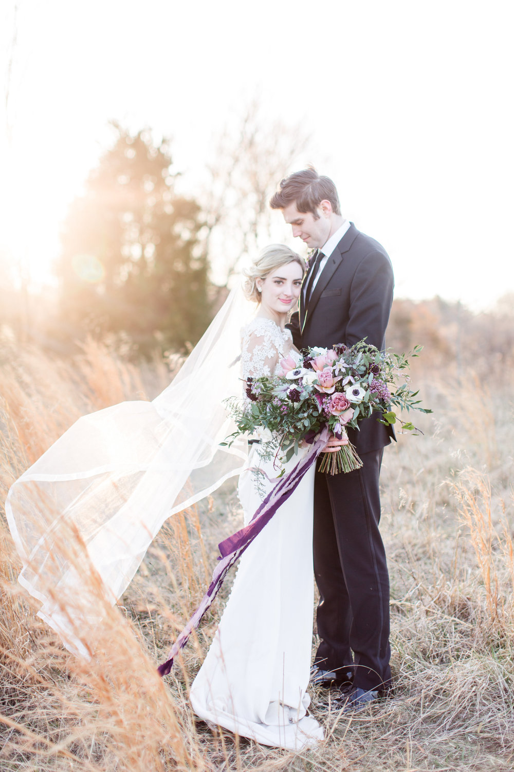 Bride and groom portrait in Loudoun County Wedding Lark Floral bouquet