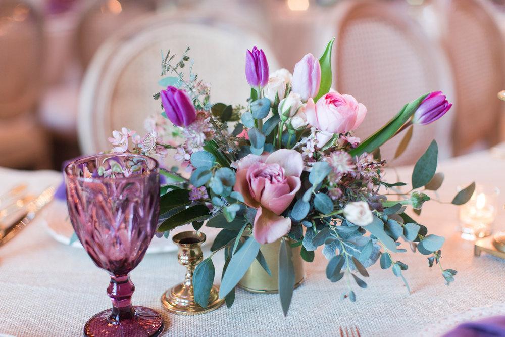 Purple wedding centerpiece