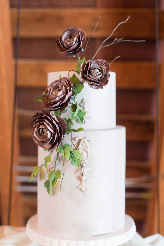 Wedding cake with ranunculus