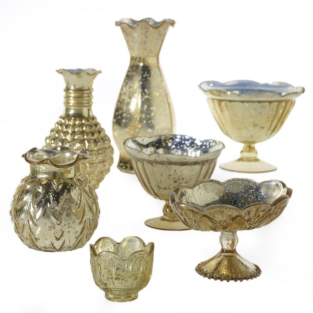 Mixed Mercury Glass Vases