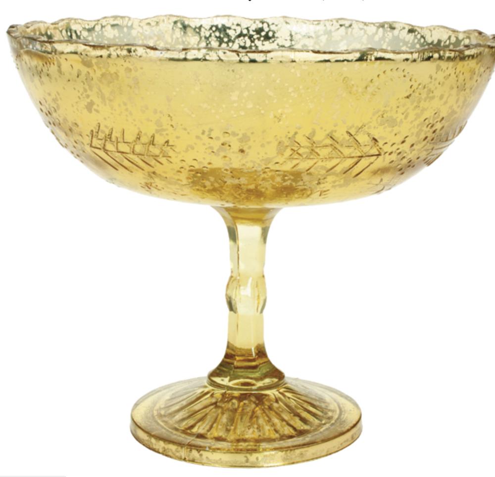 Gold Mercury Glass Compote