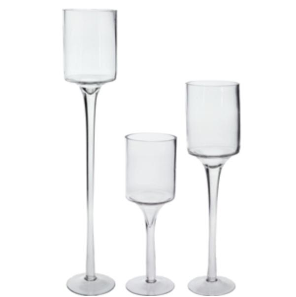 """Stemmed Glass Candle Holder (12"""", 16"""", 20"""")"""