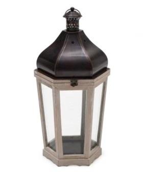"""Large 26"""" White Wood Lantern with Metal Top"""
