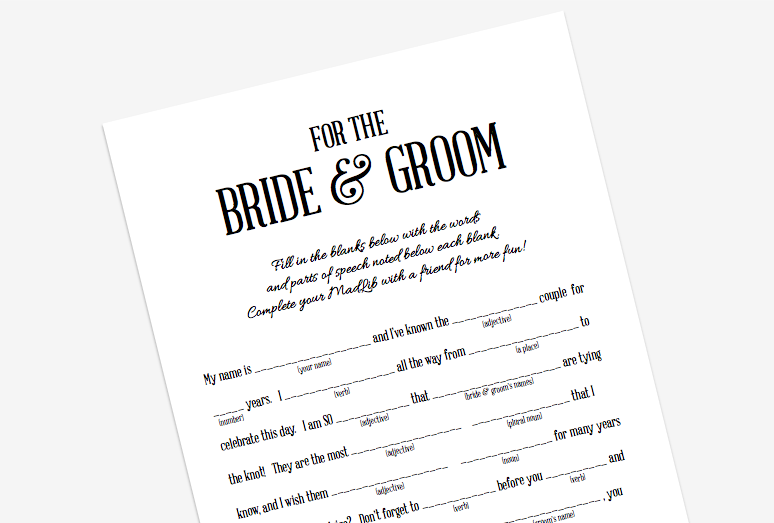 Young Tradition Studio - Wedding Mad Lib