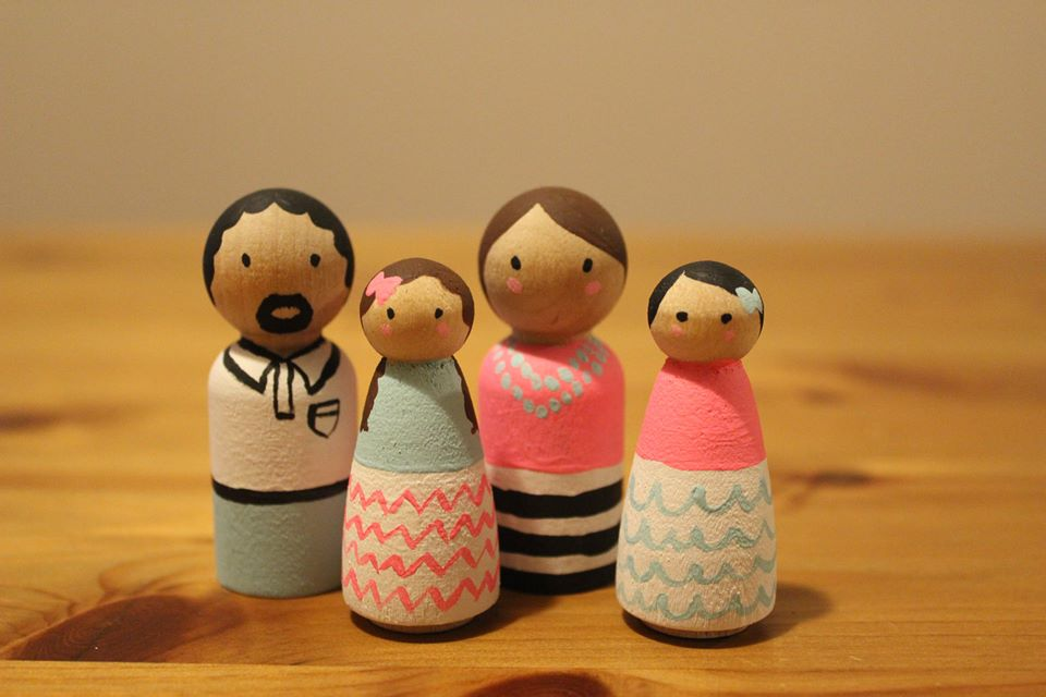 The Barona Family, in Wooden Doll form.