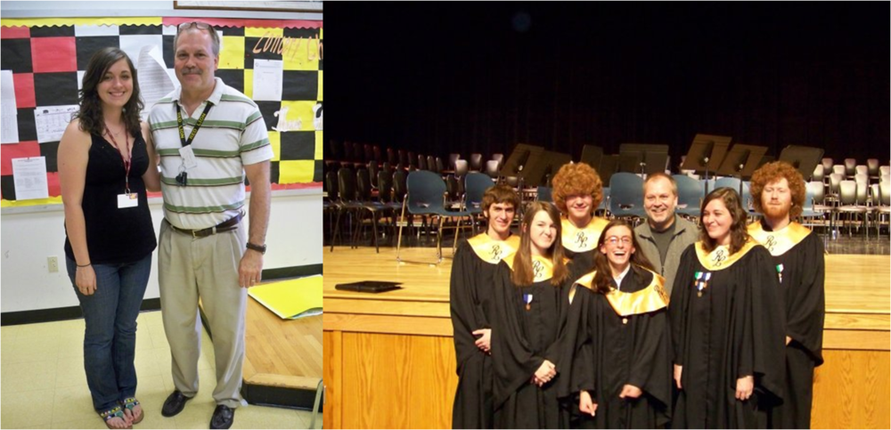 Left: Me with Mr. Tom Wise, Choral Director on the last day of my senior year of high school Right: The District & Regional Chorus participants from Red Lion in 2009