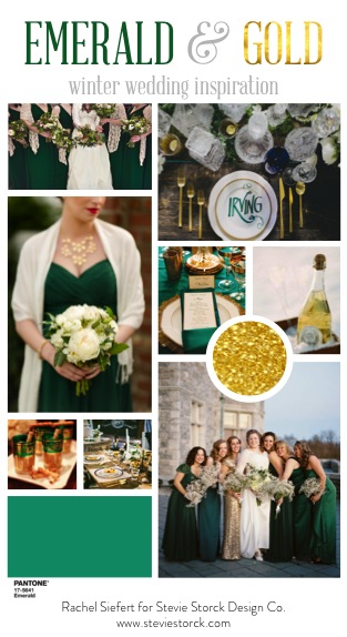 Emerald and gold art deco winter wedding inspiration