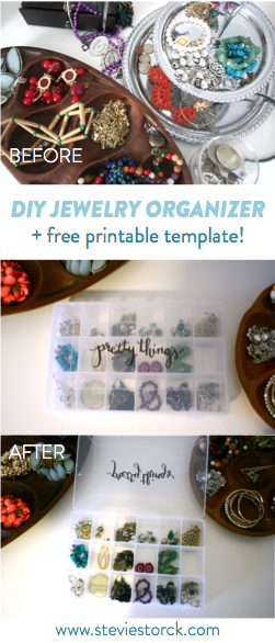 DIY Jewelry Organization with free printable template!