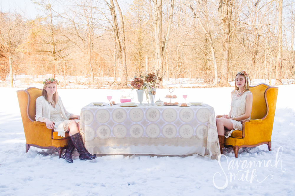 {Dead} Garden Party - Outdoor Styled Photoshoot & Winter Event Decor Inspiration #winter #vintage #blush #gold #green #lace #flowercrown #tablescape