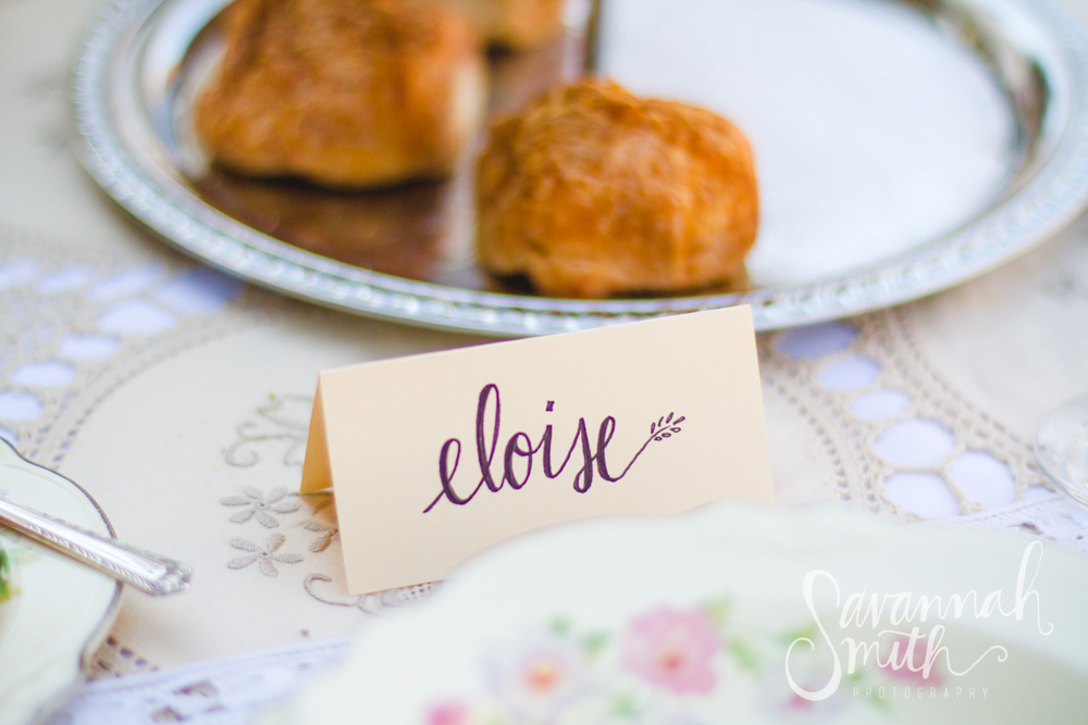 {Dead} Garden Party - hand lettered place cards by Stevie Storck Design Co.  #vintage #lace #handlettering #tablescape