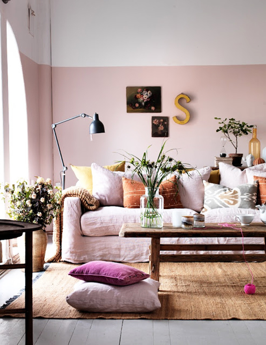 Blush Pink Walls Color Blocking
