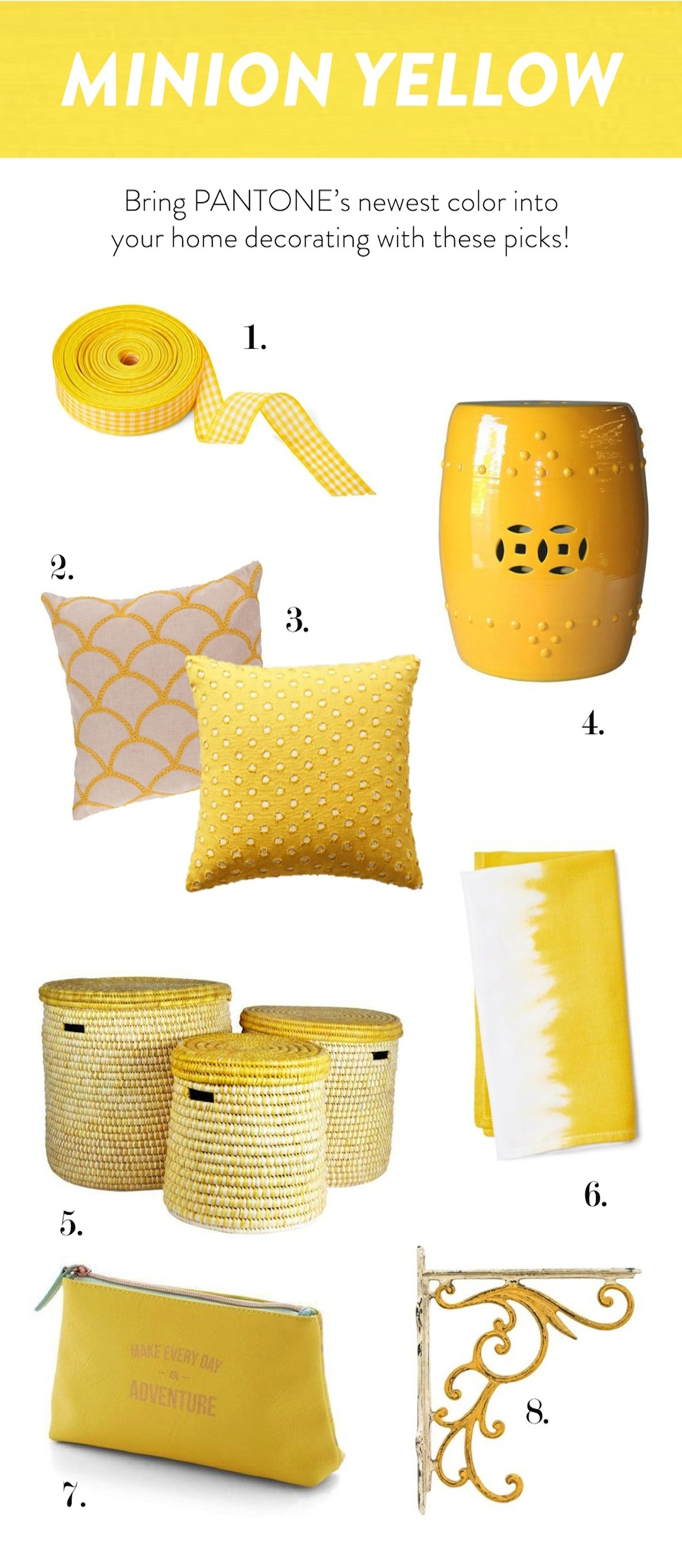 PANTONE Minion Yellow (Despicable Me) Home Decor Inspiration - Stevie Storck Design Co.