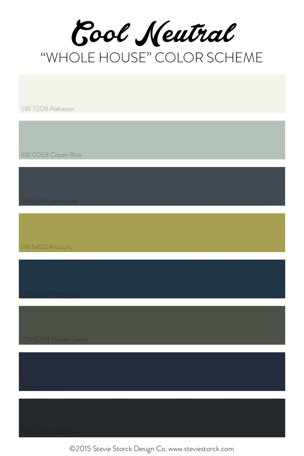 Cool Neutral Whole House Color Scheme: White, light aqua, navy, gray, black and chartreuse - from Stevie Storck Design Co.