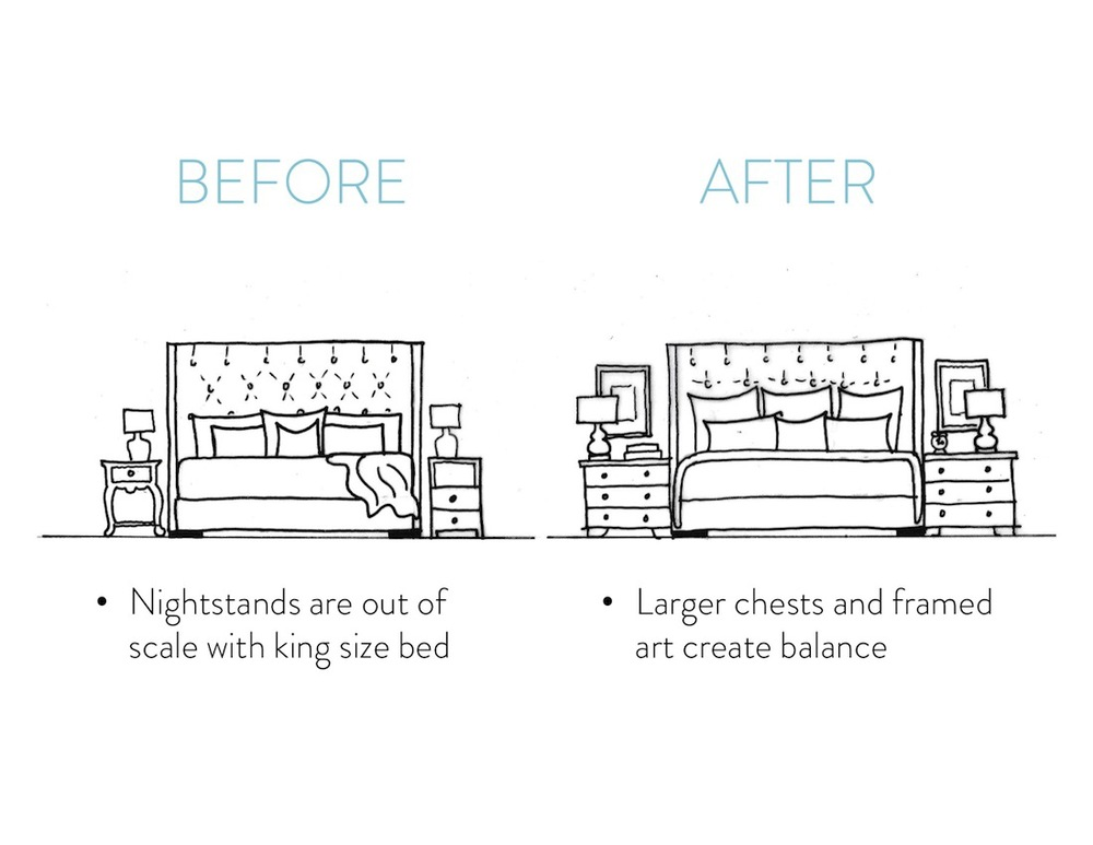 How to choose the right size nightstands to balance a king size bed - Stevie Storck Design Co.