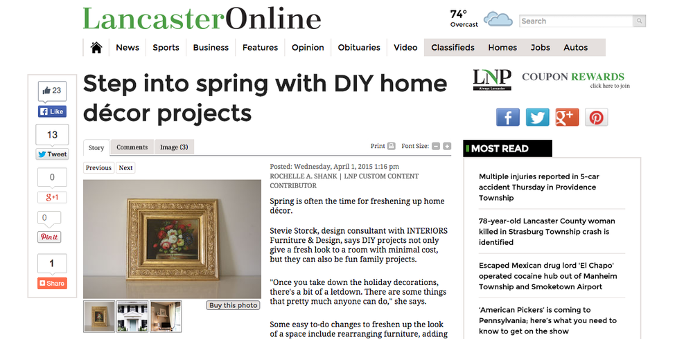 Stevie Storck Design Co. featured in Lancaster Newspaper - April 2015
