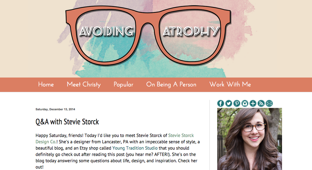 Stevie Storck Design Co. featured on Avoiding Atrophy