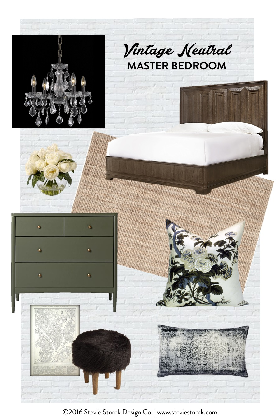 Vintage Neutral Master Bedroom Inspiration Board by Stevie Storck Design Co. - Rustic wood, olive green, antique brass, bronze and crystal chandelier, Schumacher Pyne Hollyhock, vintage map, shag fur stool, jute rug, kilim pillow #OneRoomChallenge