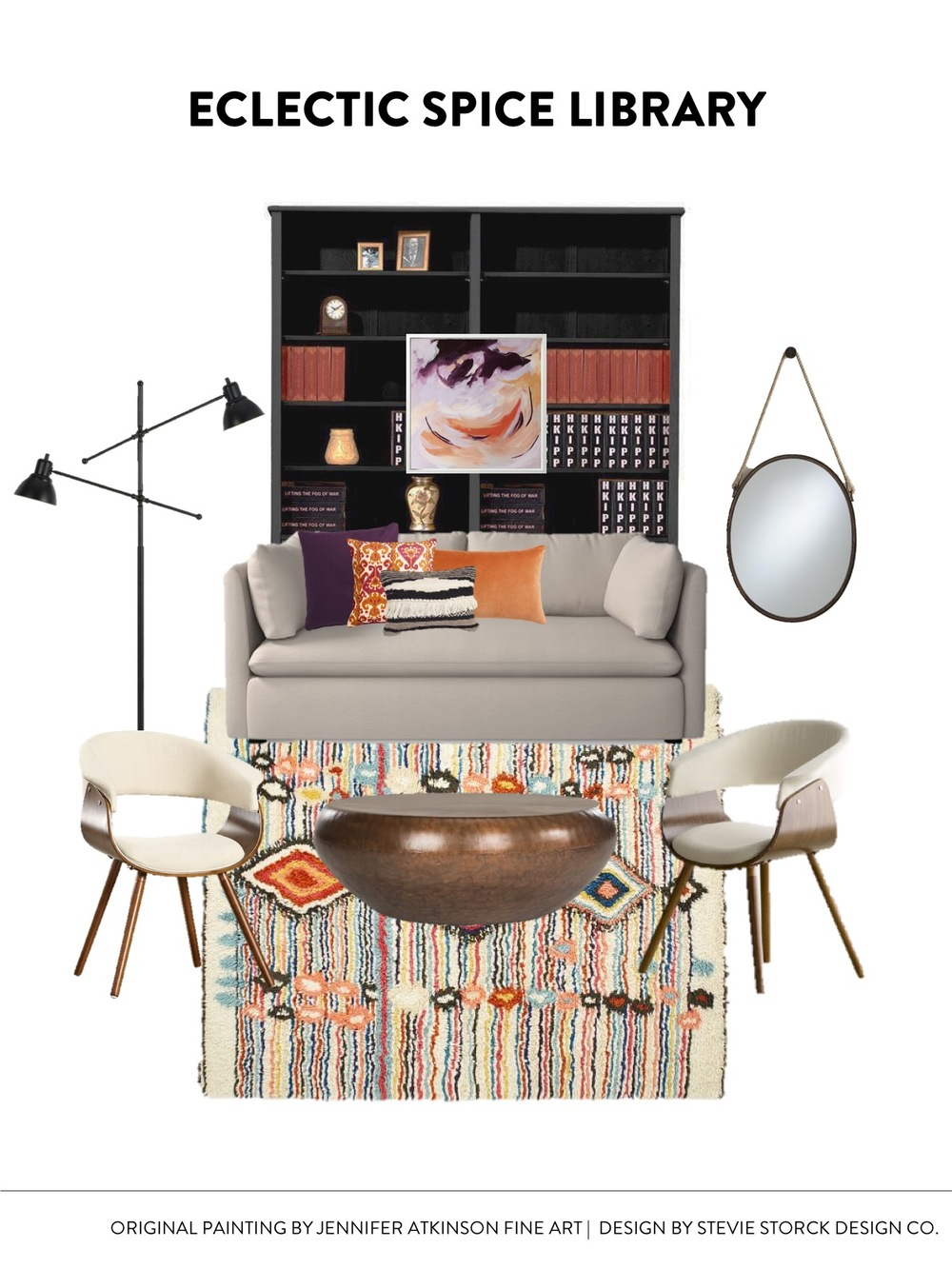 Eclectic Bohemian Spice Library Living Room Study Design Inspiration | CLICK THROUGH FOR SOURCES! Deep purple, aubergine, orange, persimmon, black bookcase, boucherite rug, midcentury modern bent wood chairs, modern eclectic boho style